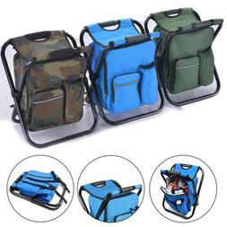 Folding Backpack Chair Seat Stool Cooler Insulated Fishing C