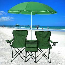 Folding Camping Outdoor Picnic Double Chair with Umbrella Ta