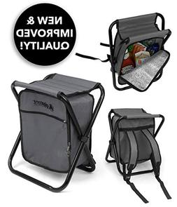 Folding Cooler and Stool Backpack - Multifunction Grey Colla