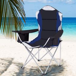 Folding Fishing Camping Chair with Cup Holder Side Bag Built