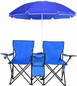 Folding Picnic Beach Camping Double Chair Umbrella Table Coo