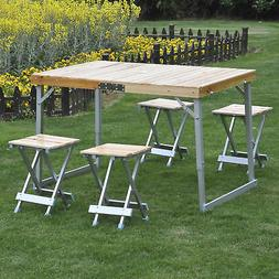 Folding Picnic Table 4 Seat Portable Set Outdoor Aluminum Ca