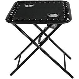 Sunnydaze Folding Sling Side Table with Mesh Drink Holders,