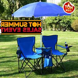 Folding Spring Umbrella Out Door Seat Beach Chair Set of2 Ca