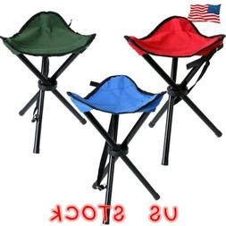 Folding Stool Portable Tripod Seat Triangle Chair Outdoor Ca