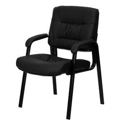 Flash Furniture Black Leather Guest / Reception Chair w/ Bla