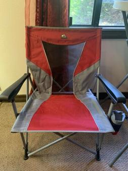 GCI Outdoor Eazy Chair Folding Portable Camp Chair Red & Gra