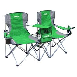 Camping Chair Set Double Heavy Duty Folding Green Cup Holder