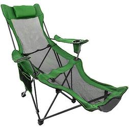 Green Reclining Folding Camp Chair With Footrest Barcelona T