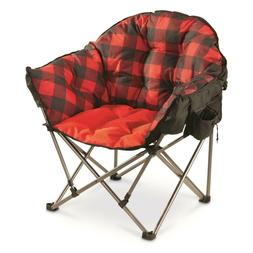 Oversize Foldable Camping Chair Portable Outdoor Plaid Padde