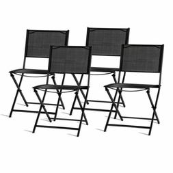 Gymax Outdoor Patio Folding Set of 4 Sling Chairs Camping De
