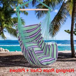 Hammock Hanging Rope Chair Swing Seat Camping Cotton Canvas