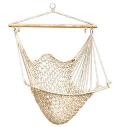Hammock Net Chair - Cotton Rope Cradle Chair with Wood Stret