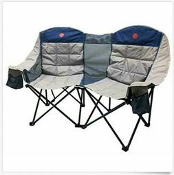 Heavy Duty Camping Chair Double Folding Loveseat 2 Person Ov