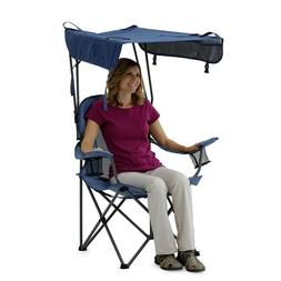 Heavy Duty Folding Camping Chair w Shaded Canopy For Outdoor