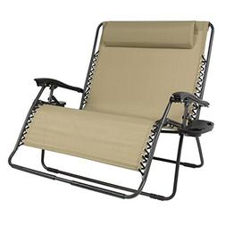 Huge Folding 2 Person Gravity Chair Double Wide Patio Lounge