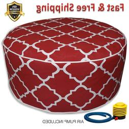 Inflatable Stool Ottoman RED for Indoor Outdoor Kids Adults