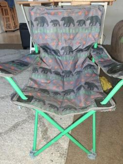 Kids Camping Chair Folding Bears Arrows Grey Green