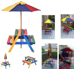 Kids Picnic Table And Chairs With Umbrella Folding Garden Fu