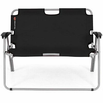2 Person Bench Chair Outdoor Black