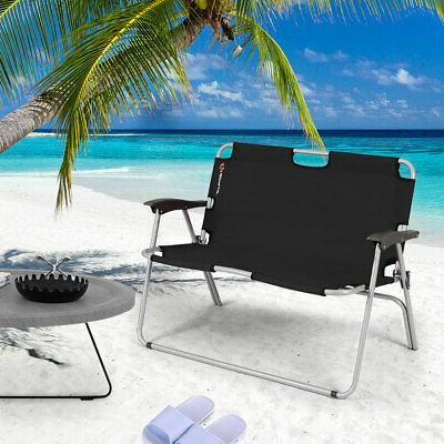 2 Folding Bench Portable Double Chair