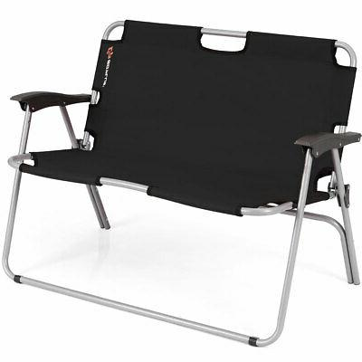 2 person folding camping bench portable loveseat