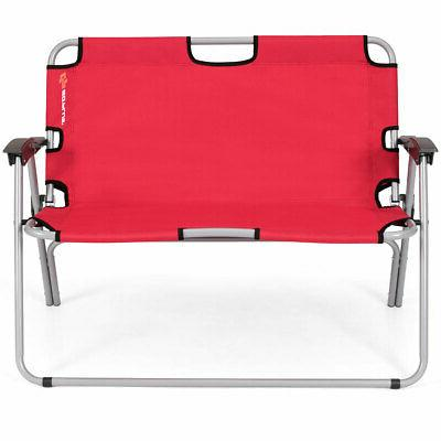 2 Person Camping Folding Chair Loveseat Bench Portable Outdo
