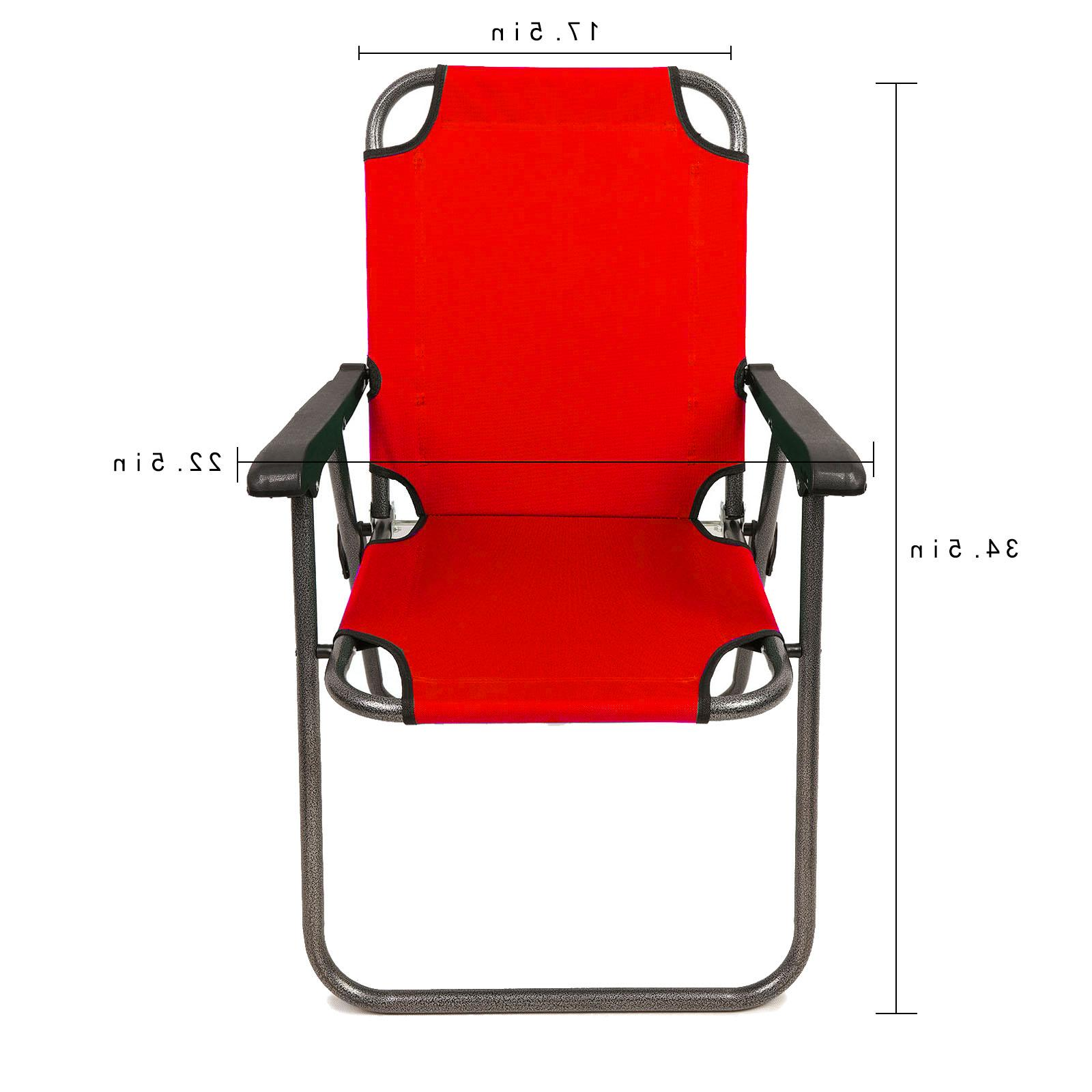 2 Red Outdoor Patio Folding Camping Chair Arm