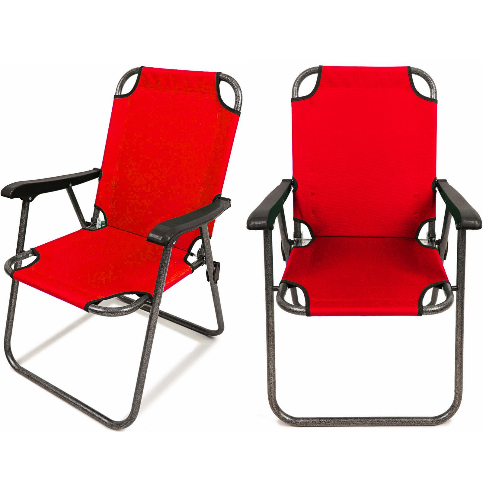 2 Red Folding Chair Arm