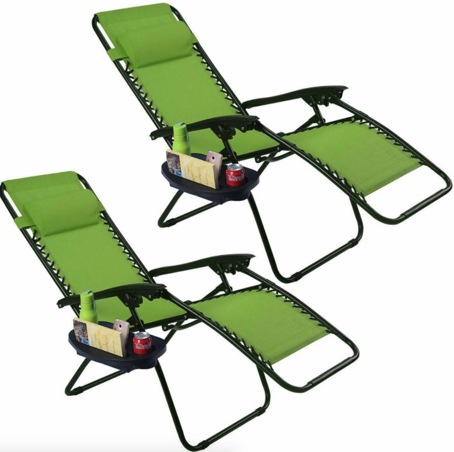 2 Set Zero Gravity Adjustable Patio Recliner Chair Cup Holde