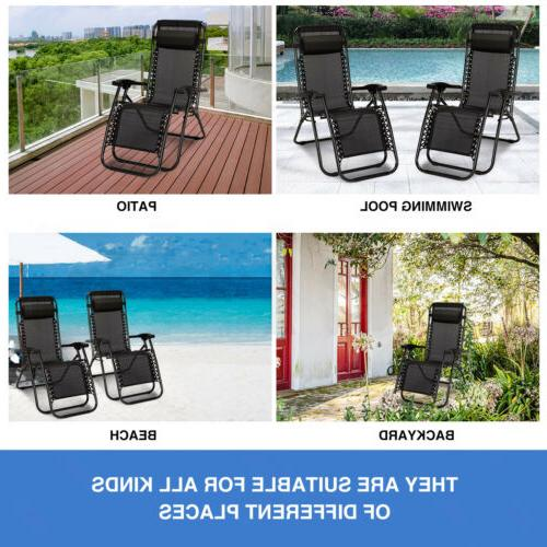 2 Chairs Sun Beach Folding Lounge Holders