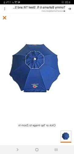 tommy bahama blue 6ft beach umbrella with integrated sand an