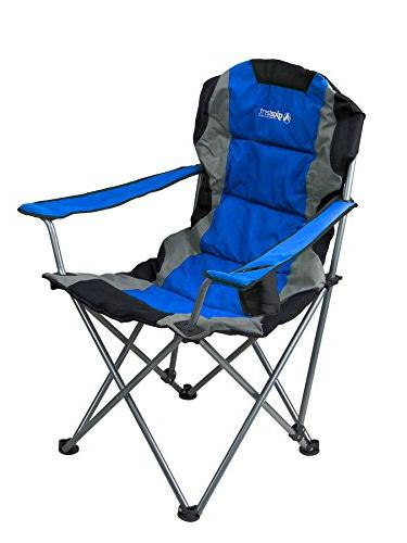 GigaTent Blue Folding Chair Ultra Collapsible Seat with Arm Rests, Cup Holder and Strap Carrying Bag – Steel Frame