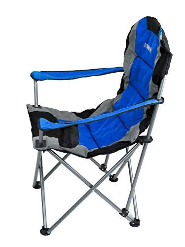 GigaTent Blue Folding Collapsible Padded Lawn Seat with Arm Cup and Bag Powder Coated Steel
