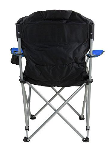 GigaTent Folding Chair – Collapsible Quad Padded Seat Full Arm Rests, Holder Bag Steel Frame