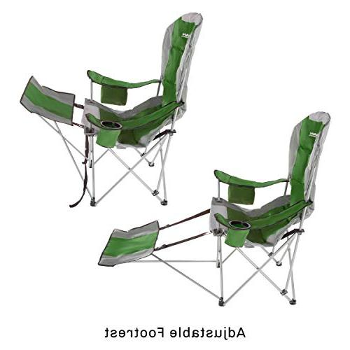 Wakeman with Footrest-300lb. Capacity Recliner Quad Seat-Cup Holder, Carry Camping, Fishing