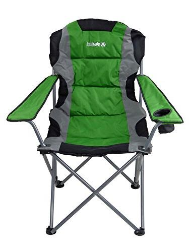 GigaTent Green Camping Chair Lightweight Collapsible Seat Arm Rests, Cup and Bag Powder Coated Steel Frame
