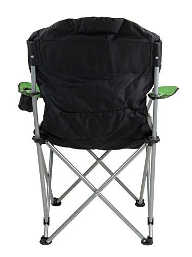 GigaTent Folding Camping Chair Ultra Lightweight Collapsible Quad Seat with Full Back, Arm Cup and Bag Steel Frame