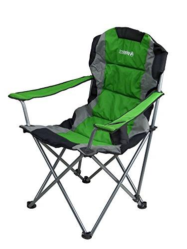 GigaTent Green Folding Chair Ultra Lightweight Collapsible Quad Padded Seat Full Arm Rests, Holder and Shoulder Strap Bag – Steel Frame