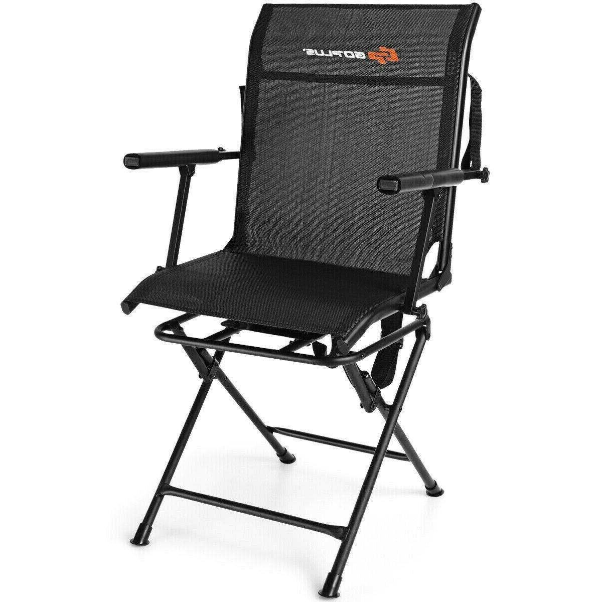 Camping Chair Swivel Folding Portable Foldable With Armrest
