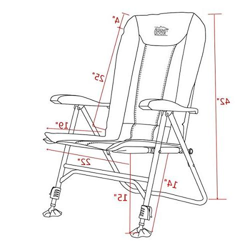 Timber Chair Folding Heavy Adjustable Reclining Padded and Legs Armrest, Outdoor, Fishing, Garden