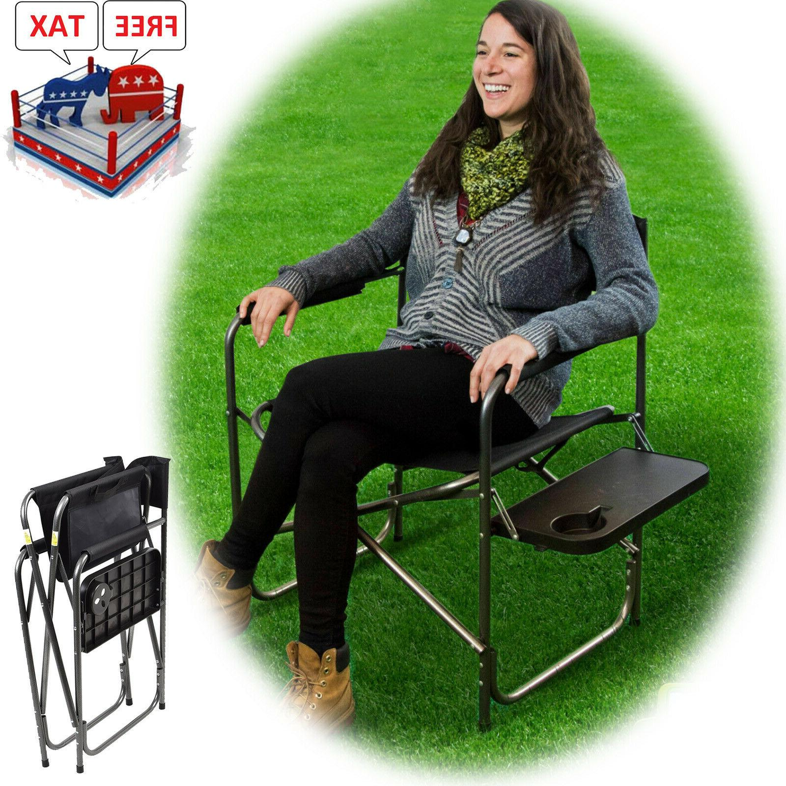 Camping Folding Heavy Duty Chair Outdoor Portable Side Table