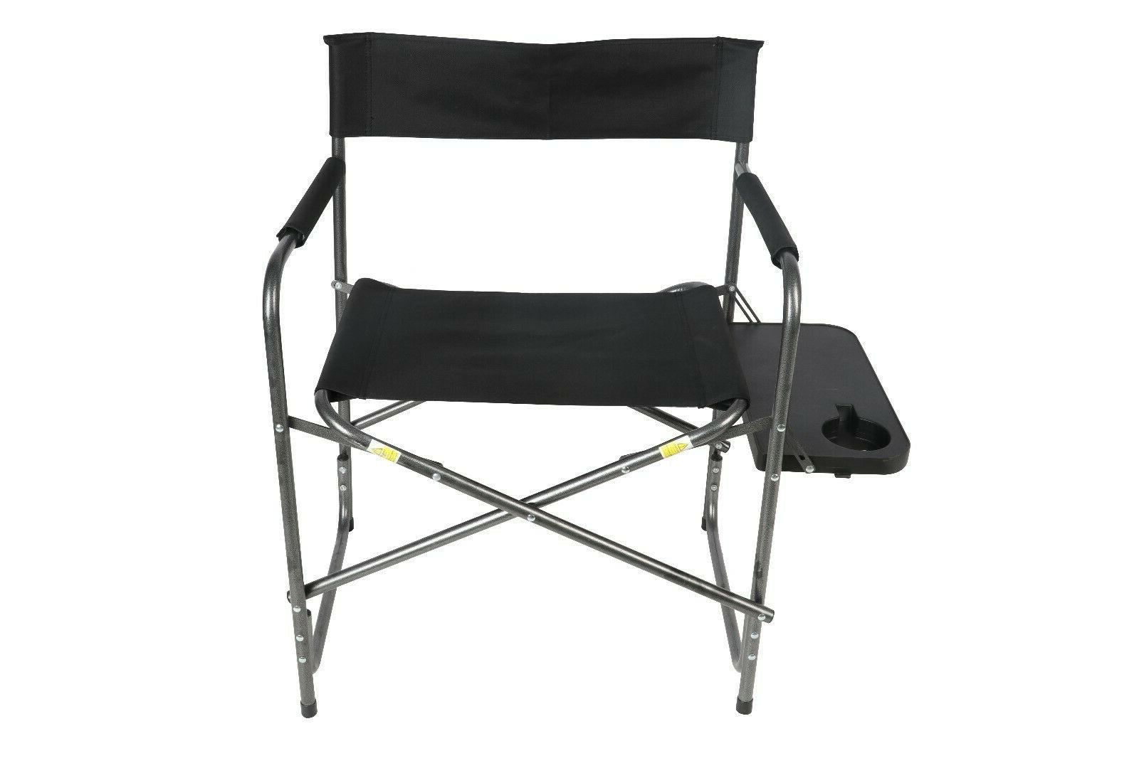 camping outdoor directors chair with foldout side