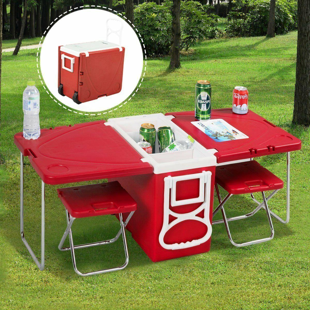 camping picnic table cooler chair set beach
