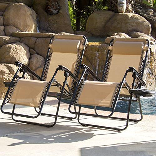 of Adjustable Gravity Lounge Chair for Patio, Pool w/Cup Holder Trays, Beige