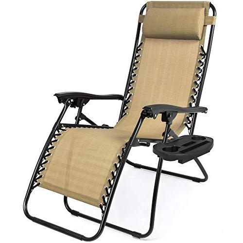 Best Products Set of Gravity Lounge Chair for Patio, Holder Pillows Beige