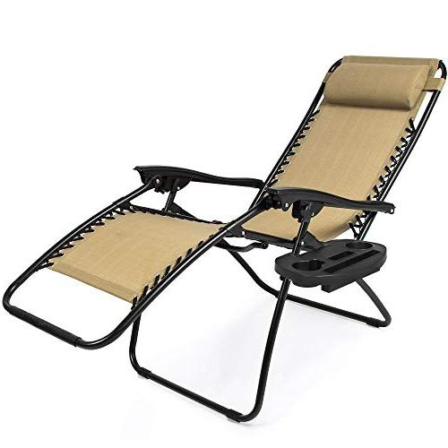 Best Choice of Adjustable Gravity Lounge for Patio, Holder Trays, Beige