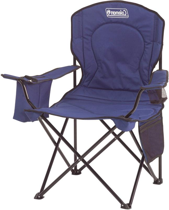 Portable Camping Quad Chair with 4-Can Cooler, Blue