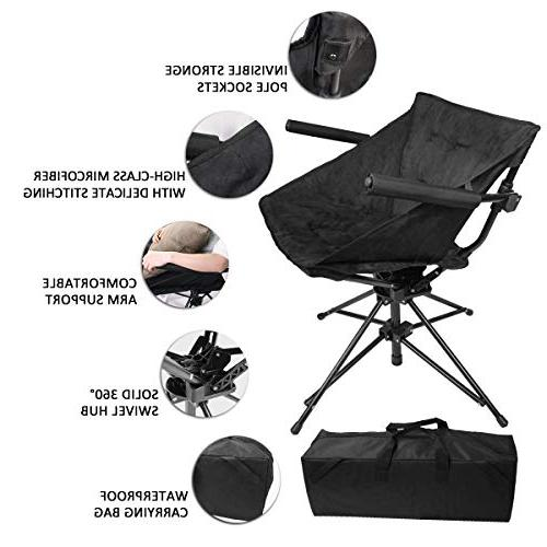 Sports Hunting - Comfortable Folding Tufted Swivel Chair Padded Seat and Armrest, Black