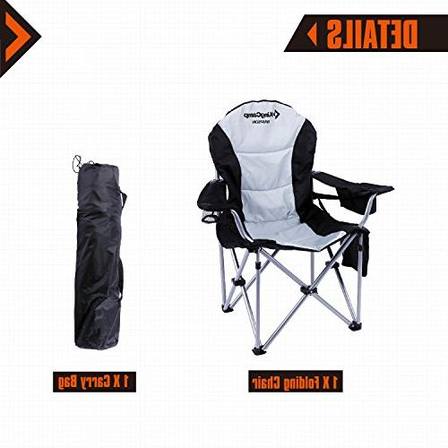 KingCamp Chair Heavy Duty Lumbar Back Oversized Chair Padded Folding Deluxe Cooler Supports 350